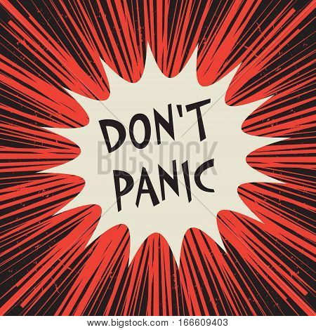 Comic explosion business concept poster with text Don't Panic vector illustration