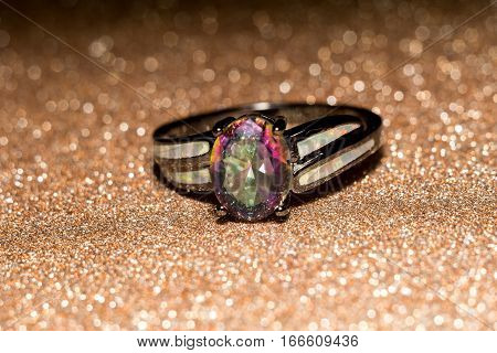 Fashion ring with mystic topaz rainbow topaz modern jewelry.