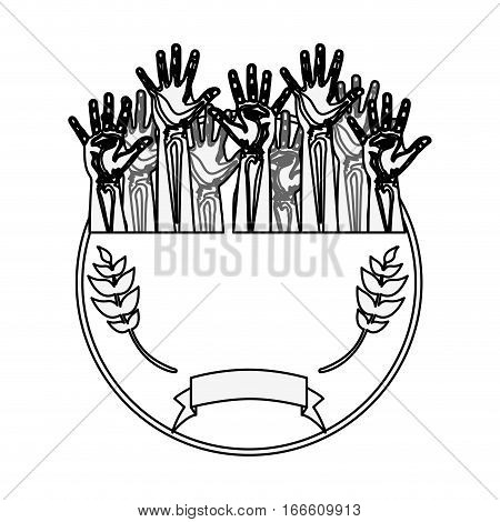 silhouette circular border with olive branch and multiple hands up vector illustration