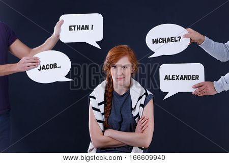 Hesitated Girl And Speech Balloons