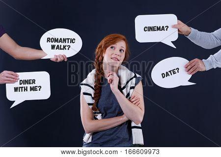 Uncertain Girl And Speech Balloons