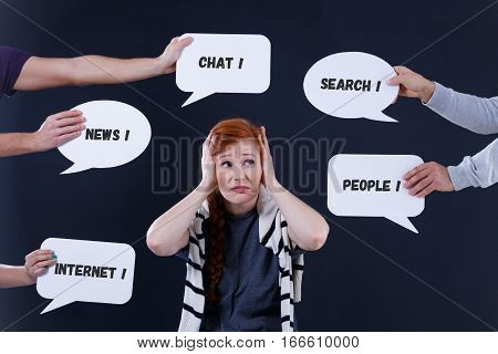 Overwhelmed Woman And Speech Bubbles