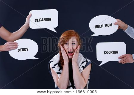 Stressed Girl With Speech Bubbles