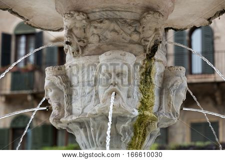 Detail of the Fountain of Madonna Verona in Piazza delle Erbe. Verona Italy