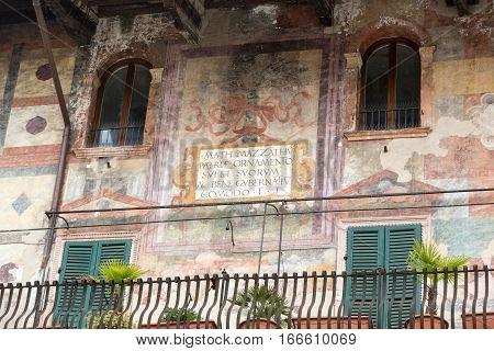 VERONA, ITALY - MAY 1, 2016: The facade of the Mazzanti House decorated with frescoes. Verona. Italy