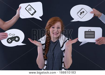 Speech Balloons And Undecided Girl