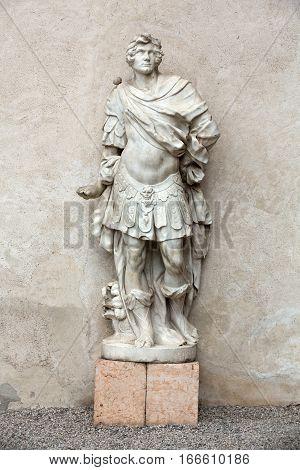 VERONA, ITALY - MAY 1, 2016: Marble statue of Man in Castelvecchio Museum. Verona Italy