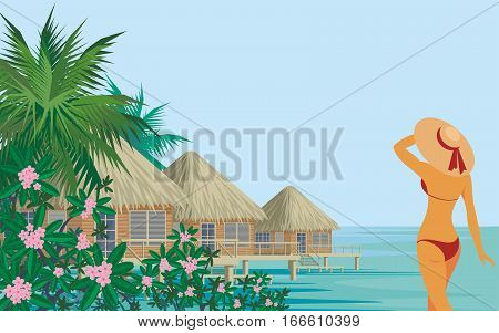 Vector background with the image of the beautiful suntanned girl in an environment of tropical vegetation. Summer sea landscape.