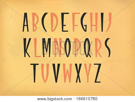 Vector alphabet set. Capital letters in cuneiform style. Black and red font on beige vintage background.