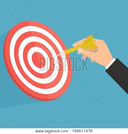 Businessman hand with dart and point to target. Vector illustration business target marketing concept design.