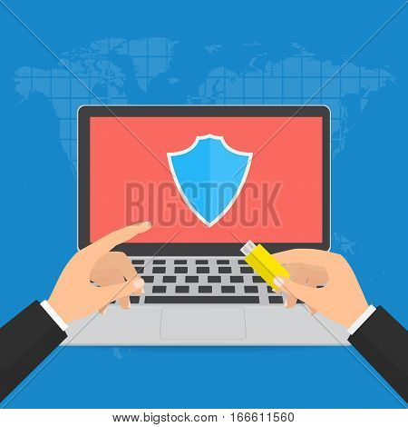 Businessman hands with flash drive storage and point to screen with shield guard for protect computer virus. Vector illustration technology data privacy and security concept.