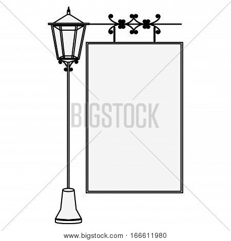silhouette lamp post with poster vector illustration