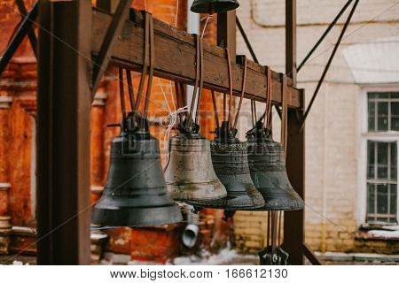 The old bells in church. Religion old ring