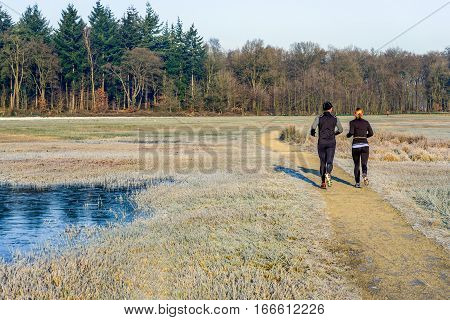 Man and woman running together on a path in nature reserve. It is early in the morning on a sunny day in the winter season and the grass is frosted.