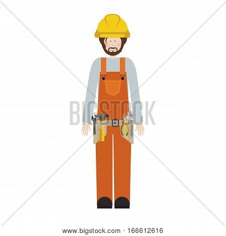 male worker with toolkit and beard vector illustration
