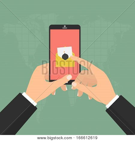 Hands hold smartphone mobile with malware virus bomb email detected. Vector illustration flat design computer technology online internet cyber crime protected concept.