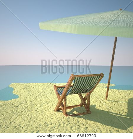 Beach with deckchair and umbrella 3d rendering