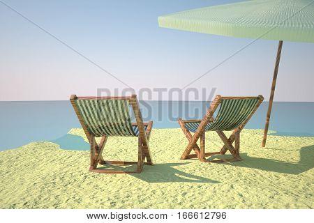 Beach With Deckchair And Ball
