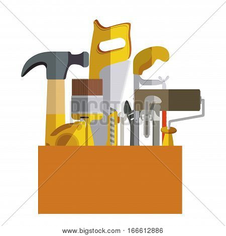 toolkit inside of wooden box vector illustration