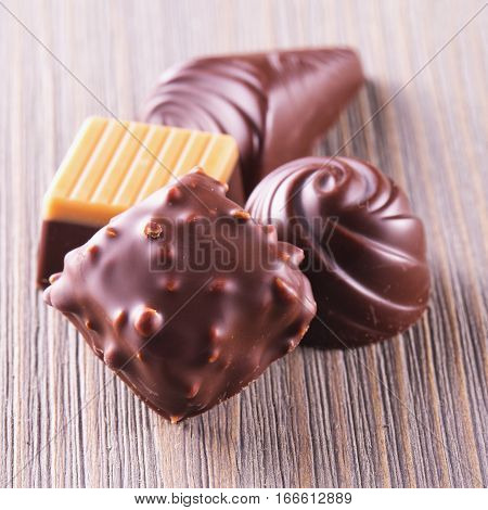 Chocolate Pralines Of Different Kinds