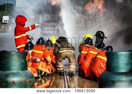 Firefighter Training, The Employees Annual Training Fire Fighting.