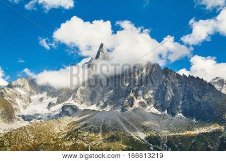 Panoramic view of Chamonix Mont Blanc. Alps mountains