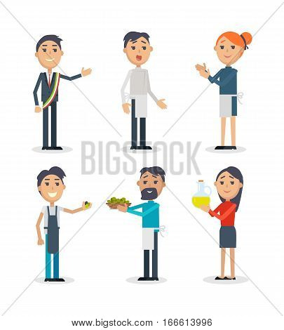 Set of people at Festival of olives in Spain. Flat style design. Spain entertainment festival. People sale olives and olive oil at market. Best price. Man and woman. Holiday event. Vector illustration