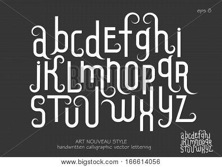 Vector alphabet set. Lowercase letters with decorative flourishes in the Art Nouveau style. White letters on black background.