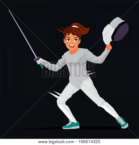 The girl - a swordsman. Vector illustration on a black background. Sports concept. Fencer.