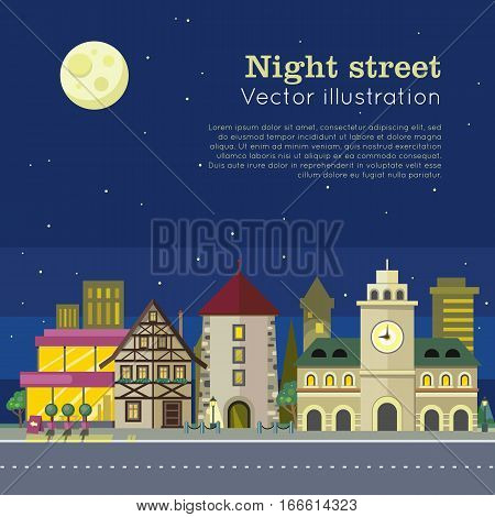 Night city vector illustration web banner. City street at day and night. Urban city landscape. Building architecture in unusual fashionable design. Modern town. Metropolis panorama. Flat style poster