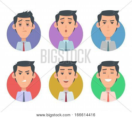 Avatar userpics of emotions. Variety of emotions office worker. Businessman person, cartoon people, character manager, success, angry, exhausted expression, depression and furious vector illustration