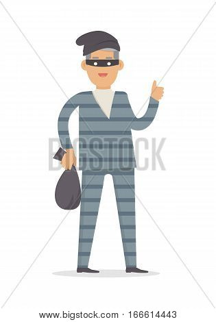Thief with bag of money in black mask isolated. Thief in robber suit stole money on white background. Criminal with money in flat style design. Robbery concept. Gangster escape from prison