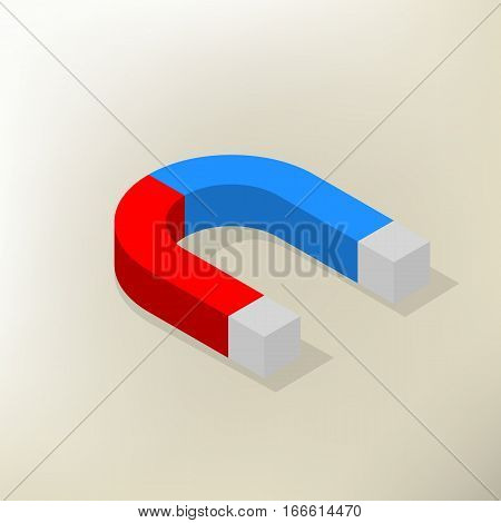 Icon magnet isolated on white background with shadow. Flat 3D isometric style vector illustration.