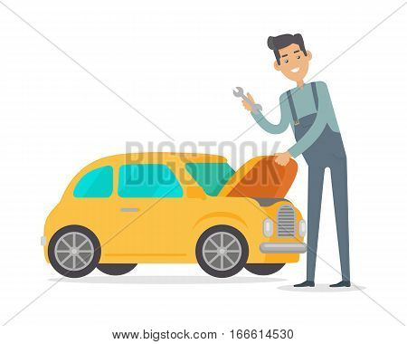 Man repair car. Car service illustration in flat style design. Auto mechanic isolated on white background. Car service worker. Repair test yellow car. Machinery engineer. Car service concept. Vector.
