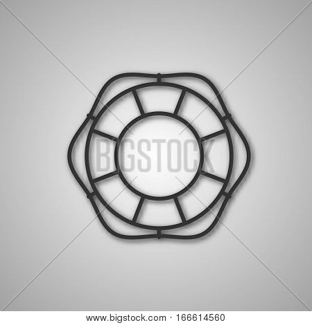 Gray icon lifebuoy isolated on white background. Element for design of ship equipment vector illustration.