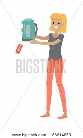 Woman holds teapot or electric kettle with sale tag isolated on white. Girl buys household appliances at discount price. Electronic device. Home tea kettle for boiling water. Vector illustration