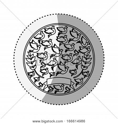sticker silhouete circular pattern with pigeons vector illustration