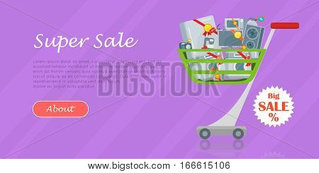 Big sale concept. Household appliances in trolley flat style design. Illustration for electronics stores advertising. Purchase of electric equipment for every day use. Set of devices in cart. Vector