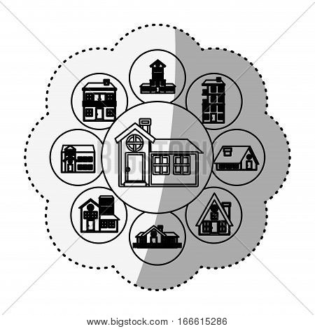 sticker silhouette pattern with houses logo design in bubbles vector illustration