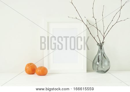 Minimal elegant mockup with tangerines and white frame