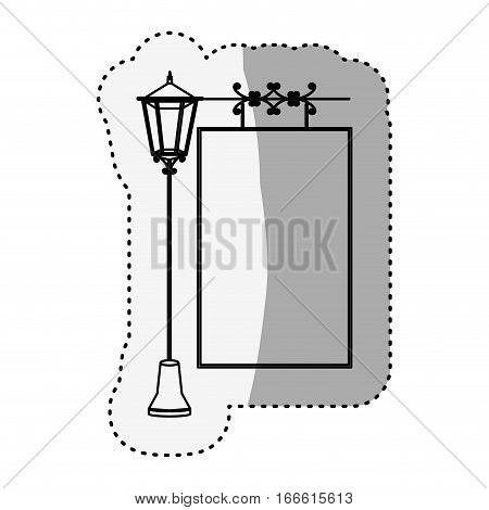 sticker silhouette lamp post with poster vector illustration