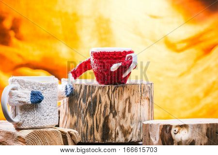 Big and small cups in wool sweaters holding hands. Family concept