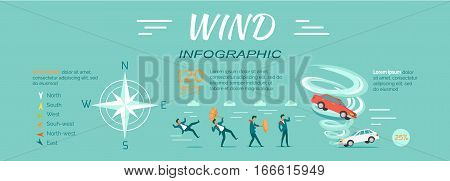 Wind Infographic vector. Flat design. People attacked strong wind, cars lifted vortex, compass rose illustrations with data and text. Effects of climate changes. For weather forecast concepts