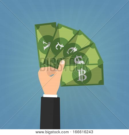 Business man hand with money exchange on blue sunrays background. Vector illustration business concept design.