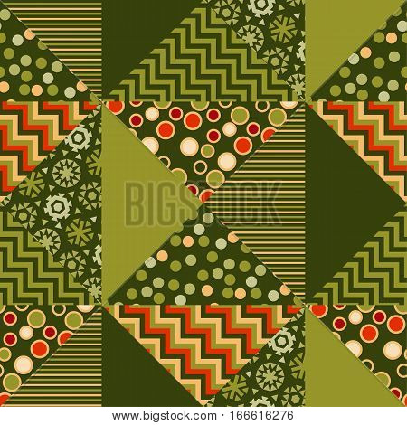 green color abstract background in patchwork style. seamless pattern vector illustration. repeatable peasant style patch fabric motif