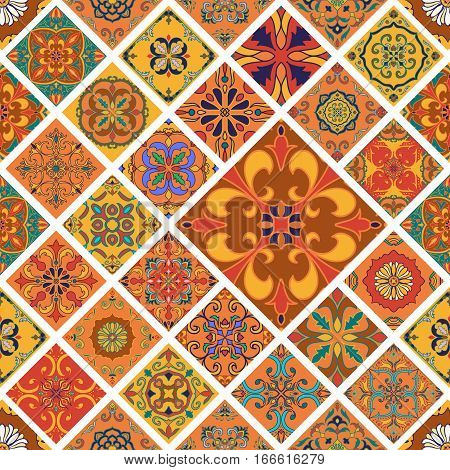 Vector seamless texture. Beautiful mega patchwork pattern for design and fashion with decorative elements in rhombus. Portuguese tiles, Talavera, Moroccan ornaments