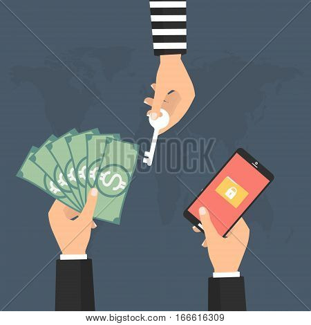 Businessman paying money to hacker for the key unlock folder data on smart phone tablet got ransomware malware virus computer. Vector illustration technology data privacy and security concept.