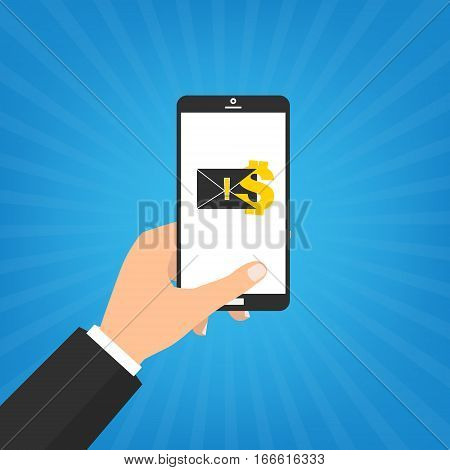 Human hand hold smart phone with black mail on sun ray background. Vector illustration computer security with two factor authentication concept.