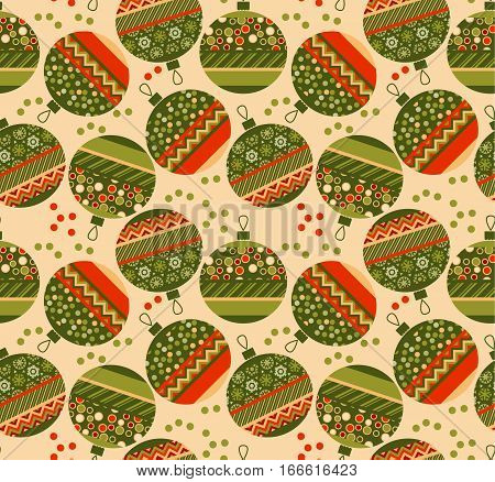 cute ornament patchwork xmas bubbles seamless pattern. cosy Christmas bulbs motif with assorted fabrics. red and green abstract Christmas vector illustration.