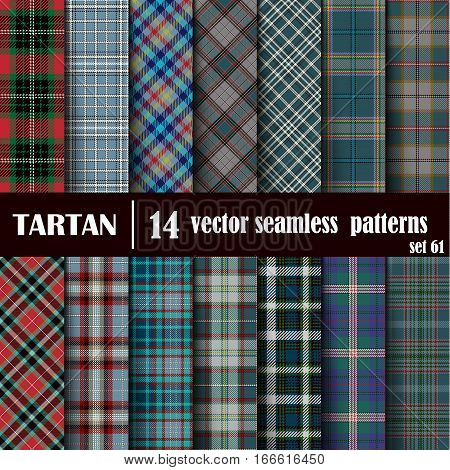 Set Tartan Seamless Pattern. Trendy Vector Illustration for Wallpapers. Seamless Tartan Tiles. Traditional Scottish Ornament. Plaid Inspired Background.